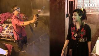 Sapna sprays insecticide on Arshi!